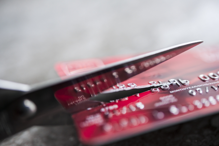 cutting up credit cards after burglary